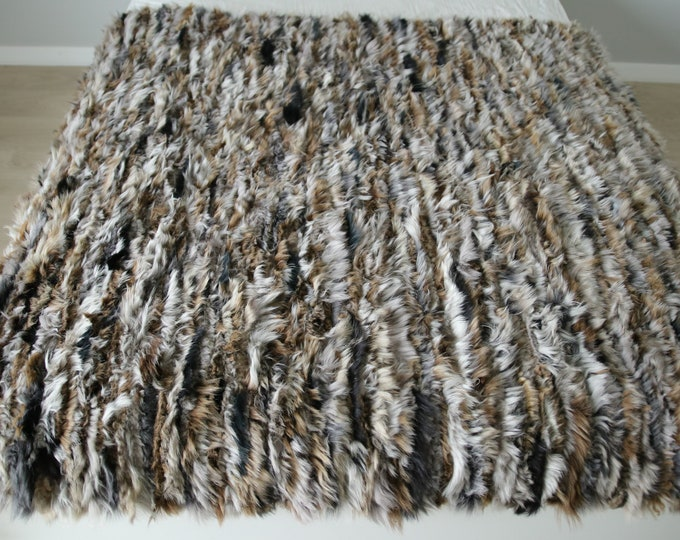Exclusive Genuine Unique WOVEN Lamb Sheepskin, Lambskin Rug, Pelt, Throw, Blanket Giant Extra Large
