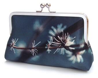 Silver twigs clutch bag, silk purse, flower bag, indigo, blue grey, woodland wedding, flower petals