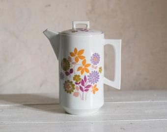 Vintage French Coffee Pot or Teapot // Porcelain Retro 1960 Floral Design