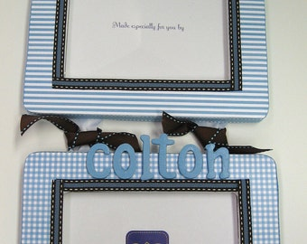 2  Frame Sets W/O names - Gingham and Stripe to match decor colors for AMANDA