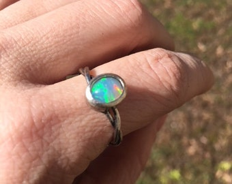Sterling silver opal ring