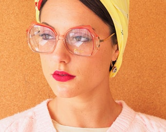 Vintage 70's Tura Eyeglasses frame/ Retro/ Disco/ Frames cheap Made In Japan/ Multicolor Peach and Light Green new old stock frame