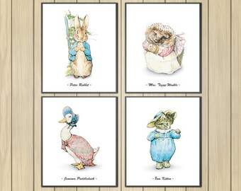 "Peter Rabbit Nursery, Set of 4, Beatrix Potter Nursery, Peter Rabbit, Instant Download, Printable Nursery Decor, Beatrix Potter,  8x10"""