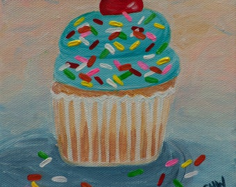 "Cupcake 11, Vanilla Cupcake with Blue Frosting and Sprinkles, 6""x6""  Original Painting by Sarah Wynne,Cupcake Art, Bakery Decor, Kitchen"