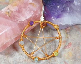 Chakra Pentacle Pendant Pentagram Necklace Rainbow Copper Wire Wrapped Jewelry Lightworker Wiccan Witchcraft Ritual Metaphysical Star RTS