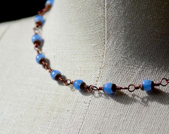 Periwinkle Blue Czech Druk Glass and Antiqued Copper Necklace
