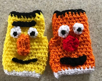 Bert & Ernie Fingerless Gloves