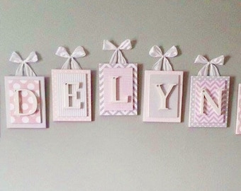 Nursery letters, Pink and Gray Nursery Letters, Wooden Nursery Letters, Chevron Nursery Letters,Hanging Wall Letters,Custom Nursery Letters