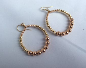 Rose gold and goldfill beaded hoop earring