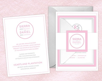 Wedding Invitations - DEPOSIT TO START Mod Circle Suite - Winter Wedding Invites - Personalized Wedding Invitations - Wedding Suites