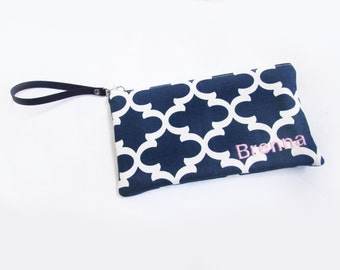 Wristlet Bags - Personalized Fulton Pouch with initials - Embroidered Makeup bag - Large