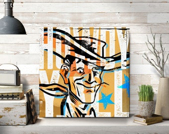 Howdy Pop Art Home Decor Large Canvas Farmhouse Western