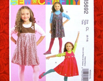 McCall's Easy Sewing Pattern M5692 Girls' Jumper Dresses, Empire Waist, Gathered Skirt, Size 6 7 8, Spring Summer Easter Fashion Gift, UNCUT