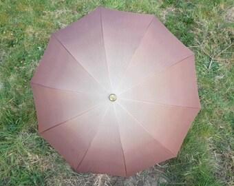 Vintage Brown Beige Kobold Umbrella Umbrella Retro Rain Or Sun Umbrella Vintage Parasol