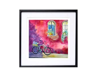 Bicycle landscape, Spring Sale, Bike art print, Bicycle wall art, Bright color, Bicycle Urban, Art, Cityscape, Travel art