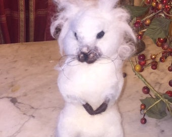 "OOAK Needle Felted Snow Hare. Introducing ""Amadeaus"" Art Doll Teddy"