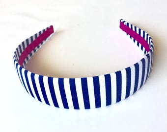 Fabric Covered Headbands Blue White Stripes Girls Headband Adult Headband Cute Headband Preppy Boutique Birthday Gift Party Favors
