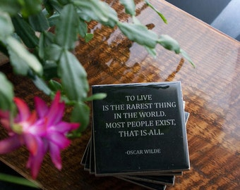 Oscar Wilde TO LIVE Quote Coaster (1 Black and White Stone Coaster) Literature Quote Decor