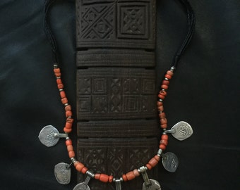 BERBER CORAL NECKLACE,ethnic jewelry,Berber silver,African jewelry