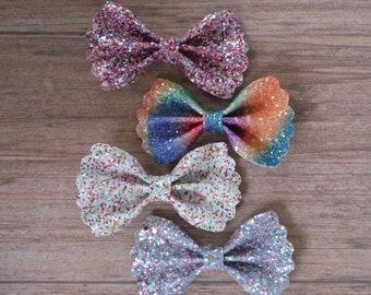 Rainbow Glitter Bows