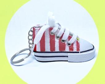 Popcorn Retro Shoe Keyring - Illustration - Pattern - Snacks - Movies - Miniature - Footwear - Novelty - OOAK - Stripes - Cinema - Kitsch