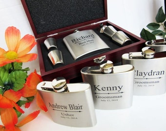 5, Groomsmen Flask Gift Set Wood Box, Rosewood Flask Gift Set, Personalized Groomsmen Gift