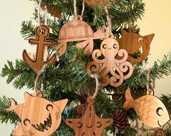 Wooden Animal Ornaments: Ocean Nautical Beach Coastal Christmas Ornaments Shark, Octopus, Anchor, Starfish, Fish, Turtle, Dolphin (Set of 2)