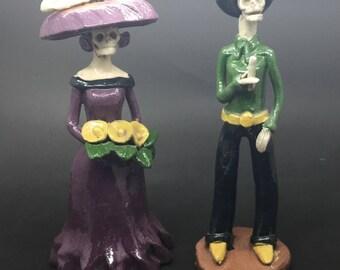 Vintage Figurines Catrin and Catrina Dia de los Muertos Calavera Skeleton