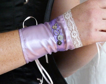 Airship Pirate Cuffs -Lavender with White Lace and Gears- Victorian Steampunk