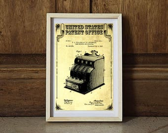 1890 Cash Register Patent, Patent Print, Wall Decor, Vintage Cash Register, Ice Cream Parlor, Cash Register, Old Register