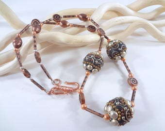 African Trade Bead, Copper and Sterling Silver 20.5 inch beaded Necklace