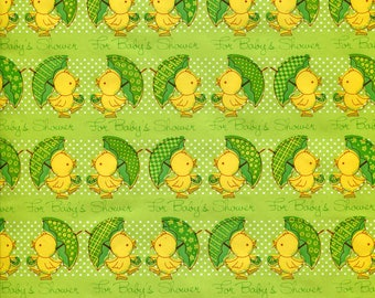 Vintage Baby Shower Gift Wrap Paper Unisex Cute Ducks and Umbrellas Green and Yellow Ducklings Ducky Polka Dots Wrapping Paper Scrap Book