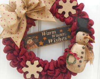 Country Winter wreath Country wreath Rustic wreath Rustic Holiday wreath Warm Winter wishes wreath Snowman wreath Snowman decor RTS