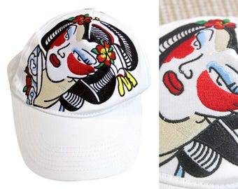 90s Geisha White Baseball Cap / 1990s / Oriental / Chinoiserie / Trucker Cap / Quirky / Embroidered / Embroidery