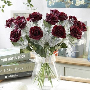 Dark Red Roses Real Touch Flowers Burgundy 10 Stems Realistic Wedding Floral Decor Ceremony Reception Table Flowers HD1811-05