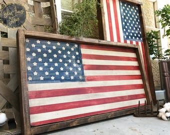 wood sign, farm house decor, Wood American Flag, Framed American Flag, Framed USA Flag, Framed Wood Flag, Rustic American Flag