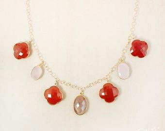 Pierre de lune pêche or, calcédoine rose et Cornaline Orange, collier plastron - 14 carats plaqué or - colliers de déclaration