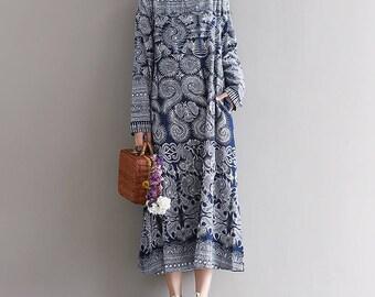 Casual Loose Fitting Plus Size Cotton Long Dress Blouse- Women Maxi dress(XS-3XL)