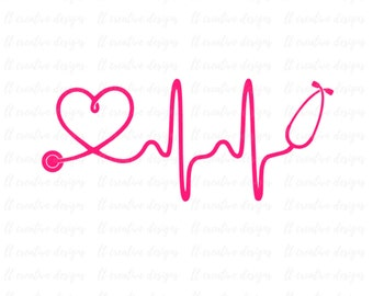 Heartbeat SVG, Nurse SVG, Doctor SVG, Healthcare Svg, Stethoscope Svg, Cricut Cut Files, Silhouette Cut File