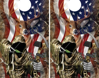 Bow Hunter with Grass Camo deer head faded over american flag Cornhole Board wraps/skins you get 2 wraps NO BOARDS