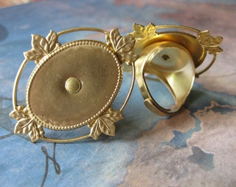 1 PC adjustable raw brass 25 x 18 mm cameo Filigree ring setting - riveted