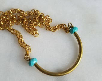 Gold Brass Tube Necklace with Turquoise Beads