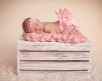 Petite PInk Chiffon Rosette Headband, Newborn Headband, Baby Flower Headband, Baby Girl Flower Headband, Photography Prop