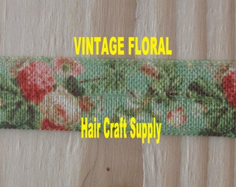 VINTAGE FLORAL ELASTIC From 1 - 5 yards - Green with Peach Flowers, for making headbands and hair ties