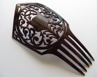 1900's Tall Antique Tortoise Shell or Celluloid 'Peineta' Spanish Hair Comb-for 'Mantilla'