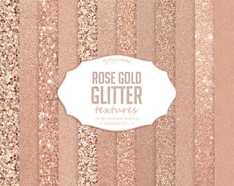 Rose Gold Glitter Digital Paper, rose gold textures, shining backgrounds in pink, rose, golden tones
