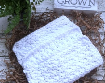 Dishcloth Set Handmade Kitchen Crochet Dish Cloths Crochet White Spa Washcloth Face Cloth Eco Friendly Cotton Dishcloths Set of 3