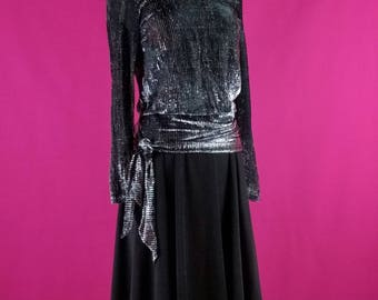 VINTAGE 80's Silver Metallic Party Dress Formal Evening Mother of the Bride