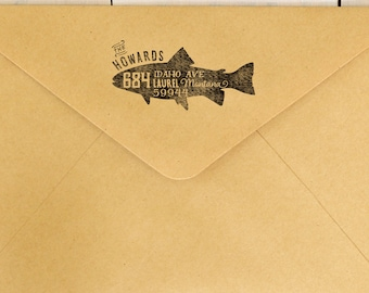 Fish Return Address Stamp, Trout Stamp, Custom Rubber Stamp, Wood Mounted Stamp
