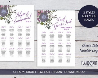 Muted Floral Printable Table Plan / Seating Plan